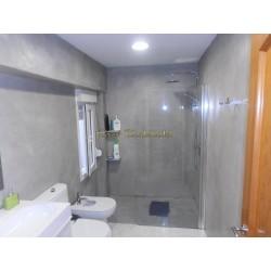 Easy Tadelakt Supreme, Tadelakt, modern bathroom in concrete finish. Concrete wall finish plaster.